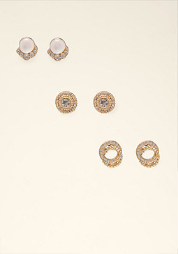 bebe Mixed Stone Earring Set
