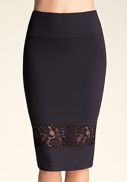 bebe Lace Inset Pencil Skirt