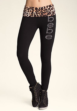 bebe Logo Leopard Pants