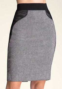bebe Maxine Mesh Detail Skirt
