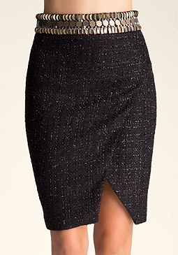 bebe Embellished Tweed Skirt