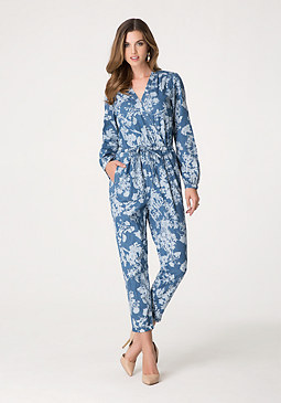 bebe Print Denim Jumpsuit