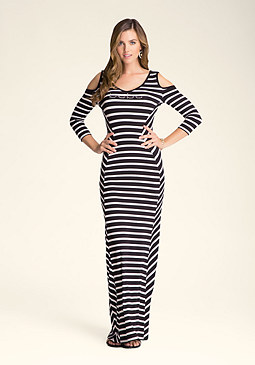 bebe Angled Stripe Maxi Dress