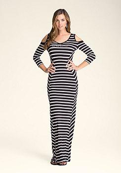 bebe Angled Stripe Maxi Dress