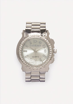 bebe Floating Crystal Logo Watch