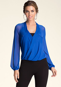 bebe Solid Surplice Shirt