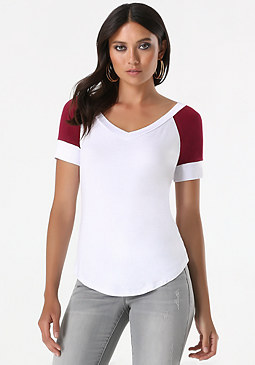 bebe Logo Colorblock V-Neck Tee