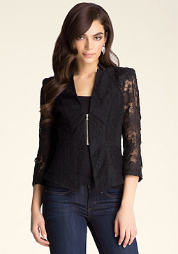 bebe Mix Lace Peplum Jacket