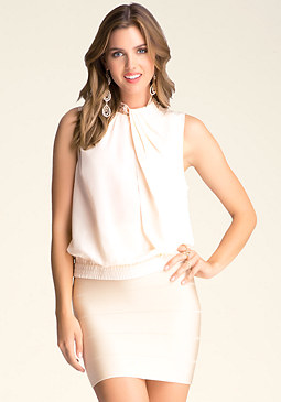bebe Silk Draped Mock Neck Top
