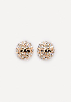bebe Logo Pave Stud Earrings