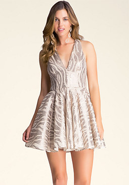 bebe V-Neck Fit & Flare Dress