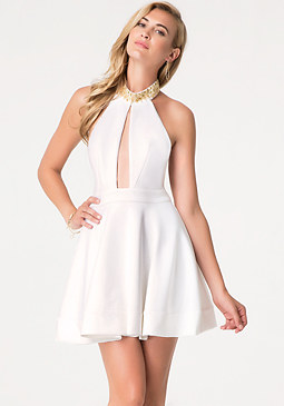 bebe Embellished Halter Dress