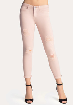 bebe Destroyed Crop Jeans