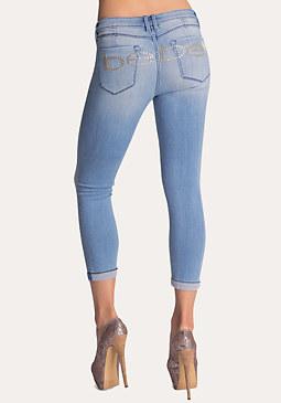 bebe Logo Zigzag Cuff Crop Jeans