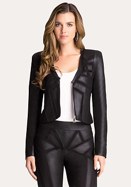 bebe Kara Leather & Mesh Jacket