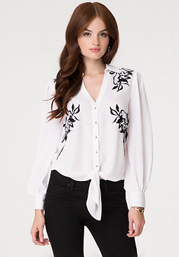 bebe Embroidered Tie Front Shirt