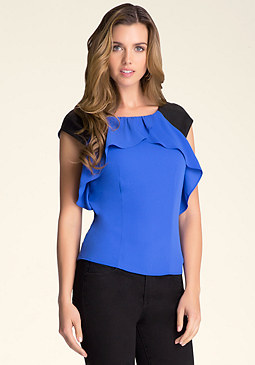 bebe Ruffle Trim Top