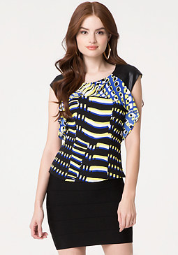 bebe Ruffle Cap Sleeve Top