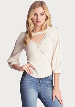 bebe Cross Stitch Trimmed Top