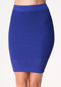 Textured Open Stitch Skirt at bebe