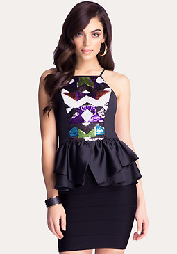bebe Geo Sequin Peplum Top