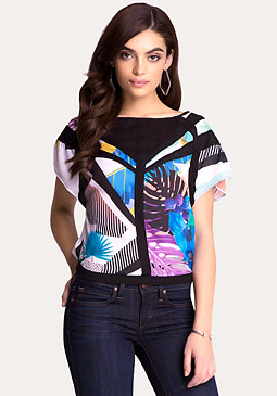 bebe Print Colorblock Top