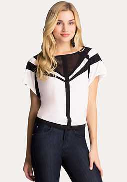 bebe Colorblock Flutter Top