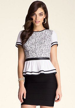 bebe Embroidered Peplum Top