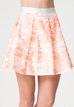 bebe Floral Sheer Stripe Skirt