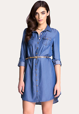 bebe Chambray Shirtdress