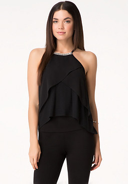bebe Jeweled Chiffon Layer Top