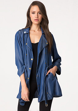 bebe Draped Chambray Trench Coat