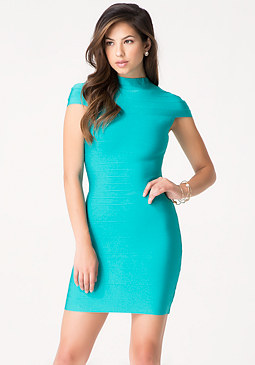 bebe Mock Neck Bandage Dress