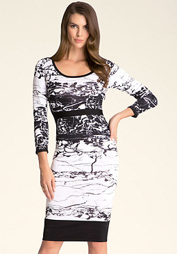 bebe 2-Color Intarsia Midi Dress
