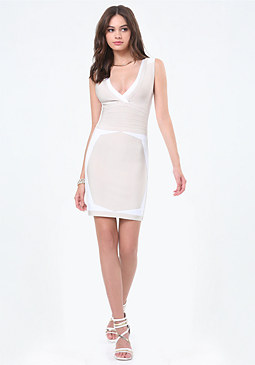 bebe Contrast Edge Bandage Dress
