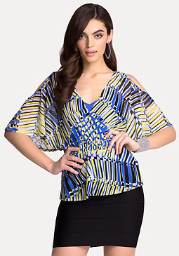 bebe Print Cold Shoulder Tunic
