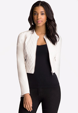 bebe Faux Leather Crop Jacket