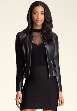 bebe Double Peplum Jacket