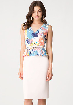 bebe Crepe Peplum Midi Dress