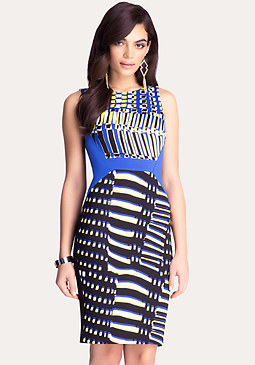 bebe Print Block Midi Dress