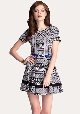 bebe Jacquard Fit & Flare Dress