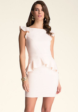 bebe Elise Crepe Peplum Dress