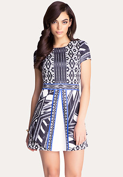 bebe Print Block Flared Dress