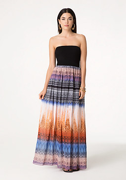 bebe Print Strapless Maxi Dress