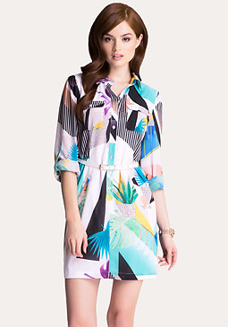 bebe Print Shirtdress