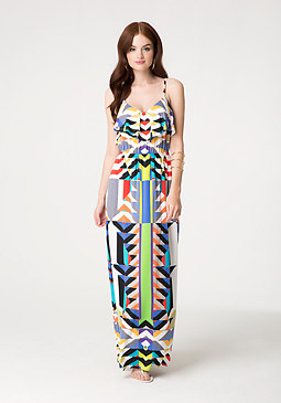 bebe Geo Print Maxi Dress