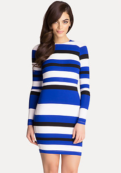bebe Striped Scuba Dress