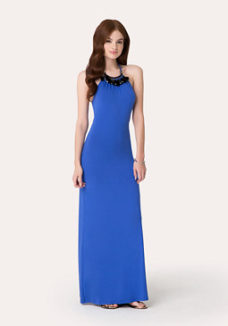 bebe Necklace Halter Maxi Dress