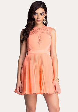 bebe Pleated Georgette Dress