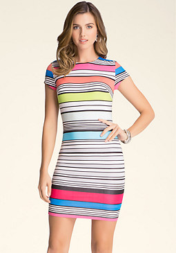 bebe Multi-Stripe Dress